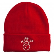 Christmas Snowman Embroidered Cuff Beanie - Red