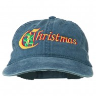 Christmas Holly Leaves Embroidered Washed Cap - Navy
