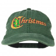 Christmas Holly Leaves Embroidered Washed Cap - Dk Green
