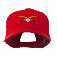 Small Crossed Bats and Ball Embroidered Cap - Red