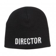 Director Embroidered Short Beanie - Black