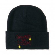 Celebrate the Season with Ornaments Embroidered Beanie - Navy