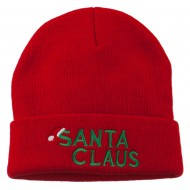 Christmas Santa Claus Embroidered Long Beanie - Red