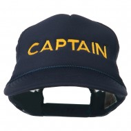 Captain Embroidered Foam Front Mesh Back Cap - Navy