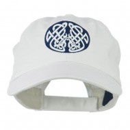 Celtic Emblem with Birds Embroidered Cap - White
