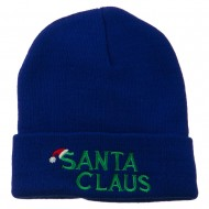 Christmas Santa Claus Embroidered Long Beanie - Royal