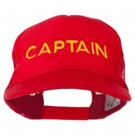 Captain Embroidered Foam Front Mesh Back Cap - Red