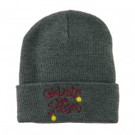Celebrate the Season with Ornaments Embroidered Beanie - Grey