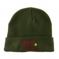 Celebrate the Season with Ornaments Embroidered Beanie - Olive