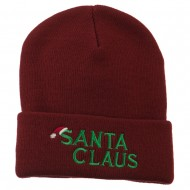 Christmas Santa Claus Embroidered Long Beanie - Maroon