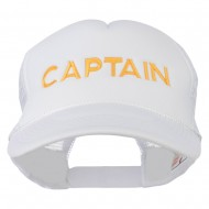 Captain Embroidered Foam Front Mesh Back Cap - White