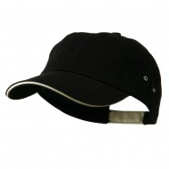 Contrast Ultra Heavy Weight Brushed Cotton Twill Cap - Black Khaki