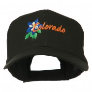 USA State Colorado Columbine Embroidered Low Profile Cotton Cap - Black