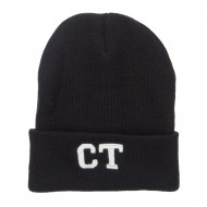 CT Connecticut Embroidered Long Beanie - Black