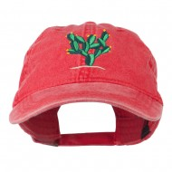 Cactus Embroidered Washed Cap - Red