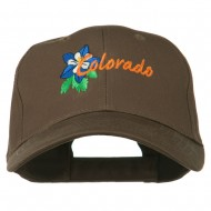 USA State Colorado Columbine Embroidered Low Profile Cotton Cap - Brown
