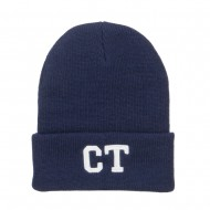 CT Connecticut Embroidered Long Beanie - Navy