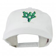 Cactus Embroidered Washed Cap - White