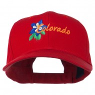 USA State Colorado Columbine Embroidered Low Profile Cotton Cap - Red