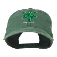 Cactus Embroidered Washed Cap - Dark Green