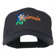 USA State Colorado Columbine Embroidered Low Profile Cotton Cap - Navy