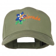 USA State Colorado Columbine Embroidered Low Profile Cotton Cap - Olive