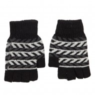 Men's Chevron Fingerless Knit Glove - Black