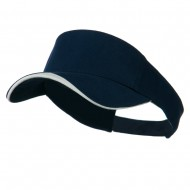 Heavy Brushed Cotton Concave Trim Visor - Navy White