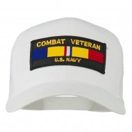 US Navy Combat Veteran Patched Mesh Cap - White