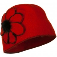 Cuffless Wool Beanie Hat with Flower - Red