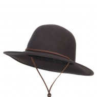 Round Crown Wool Felt Hat - Chocolate