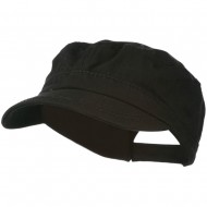 Colorful Washed Military Cap - Black