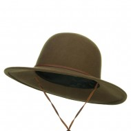 Round Crown Wool Felt Hat - Olive