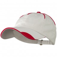 Low Profile Unstructured Cotton Washed Cap - White Red