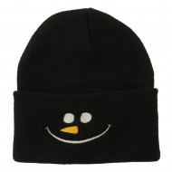 Christmas Snowman Smiley Embroidered Beanie - Black