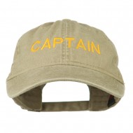 Captain Embroidered Low Profile Washed Cap - Khaki