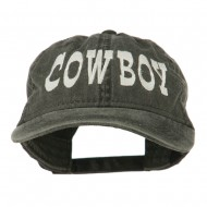Cowboy Embroidered Washed Cap - Black