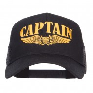Captain Wing Logo Embroidered Mesh Cap - Black