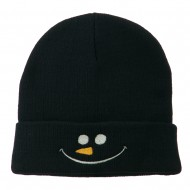 Christmas Snowman Smiley Embroidered Beanie - Navy
