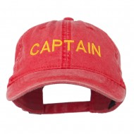 Captain Embroidered Low Profile Washed Cap - Red