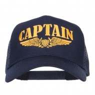 Captain Wing Logo Embroidered Mesh Cap - Navy