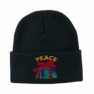 Christmas World Peace Embroidered Beanie - Navy