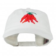 Chili Ristra Embroidered Washed Cap - White