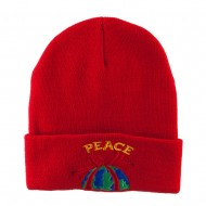 Christmas World Peace Embroidered Beanie - Red