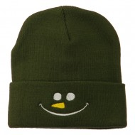 Christmas Snowman Smiley Embroidered Beanie - Olive