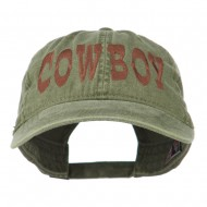 Cowboy Embroidered Washed Cap - Olive Green