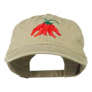 Chili Ristra Embroidered Washed Cap - Khaki