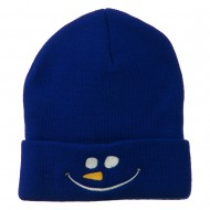Christmas Snowman Smiley Embroidered Beanie - Royal