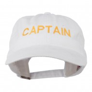 Captain Embroidered Low Profile Washed Cap - White