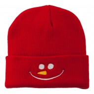 Christmas Snowman Smiley Embroidered Beanie - Red